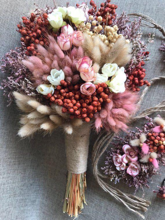 Wedding Dried Flower Bouquet Set - Bridal, Groom, Bridesmaid, Bridesman (Total 34 Pieces) #flowerbouquetwedding