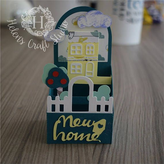 New Home Housewarming Pop Up Box Card Template Svg And Dxf Pop Up Box Cards Paper Box Template Box Template