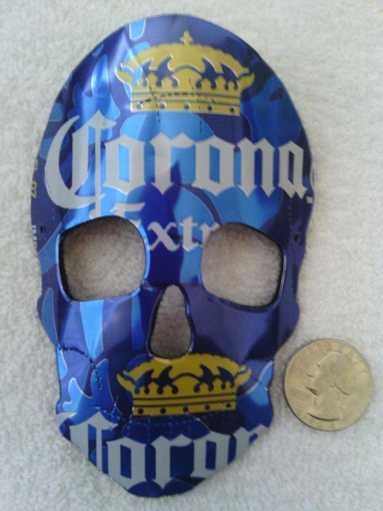 Corona Extra Beer Recycled Skull Mask Rear View Mirror