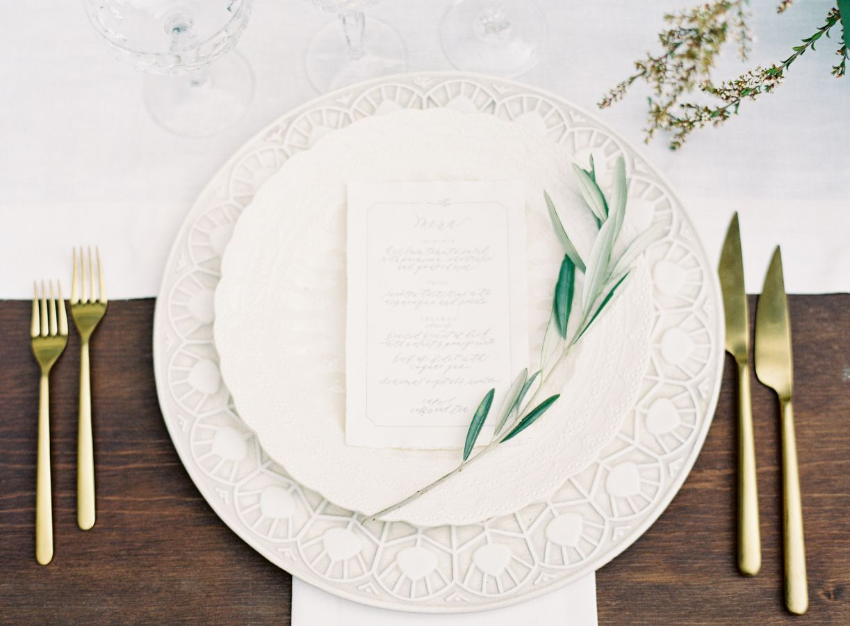Place setting for An Elegant Tuscan inspired wedding