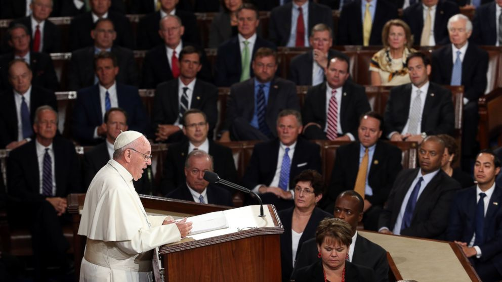"""""""Let us treat others with the same passion and compassion with which we'd want to be treated,""""  Pope Francis reminds US politicians of the """"Golden Rule""""."""