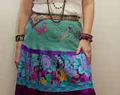 Leighanabelle Romantic Beautiful Gypsy Tiered Peasant Long Skirt in Vibrant Colours
