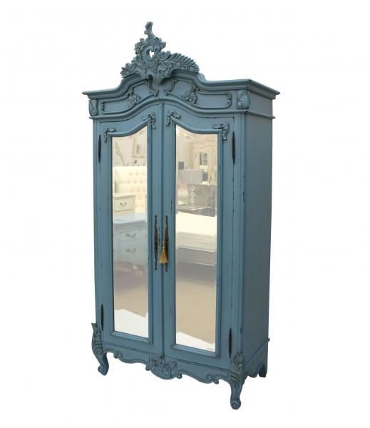Designer Furniture Mirrored Armoire Mirror Wardrobe Painted Teal Blue