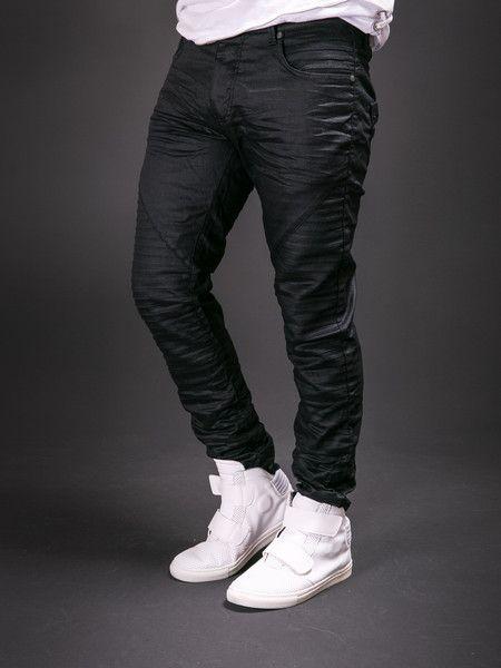 ADJ Men Slim Fit Thin Oily Coated Ridges Jeans - Black