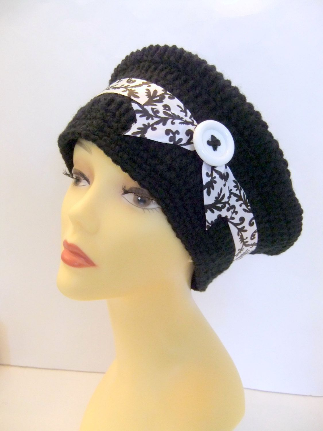 Black and white ribbon beret, cap, handmade, crochet, button, accessories, fashionable, gift, women, teen. $26.99, via Etsy.