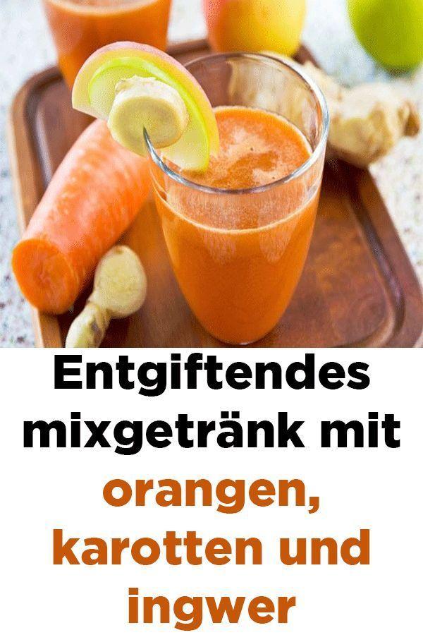 Entgiftendes mixgetränk mit orangen, karotten und ingwer #drinks