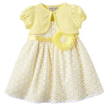 Rare Editions Eyelet Dress & Shrug Set - Baby