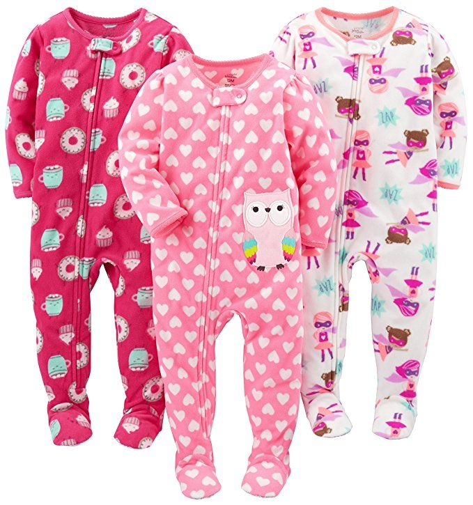 36090e8ee Simple Joys by Carter s Baby Girls  Toddler 3-Pack Flame Resistant ...