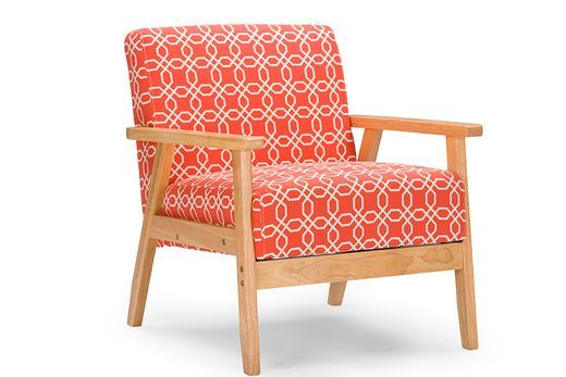 WholeSale Interiors Baxton Studio Francis Retro Mid Century Orange Patterned Fabric Armchair -
