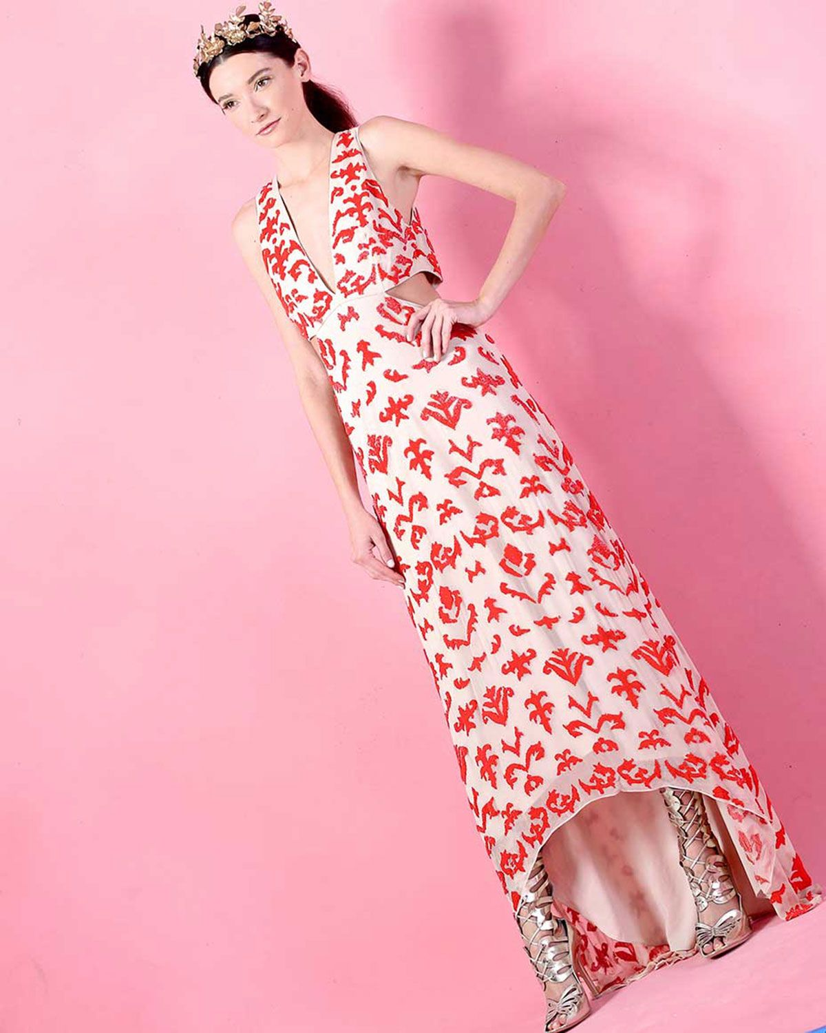 Juela Cutout High-Low Gown, Nude/Poppy | For the Evening | Pinterest