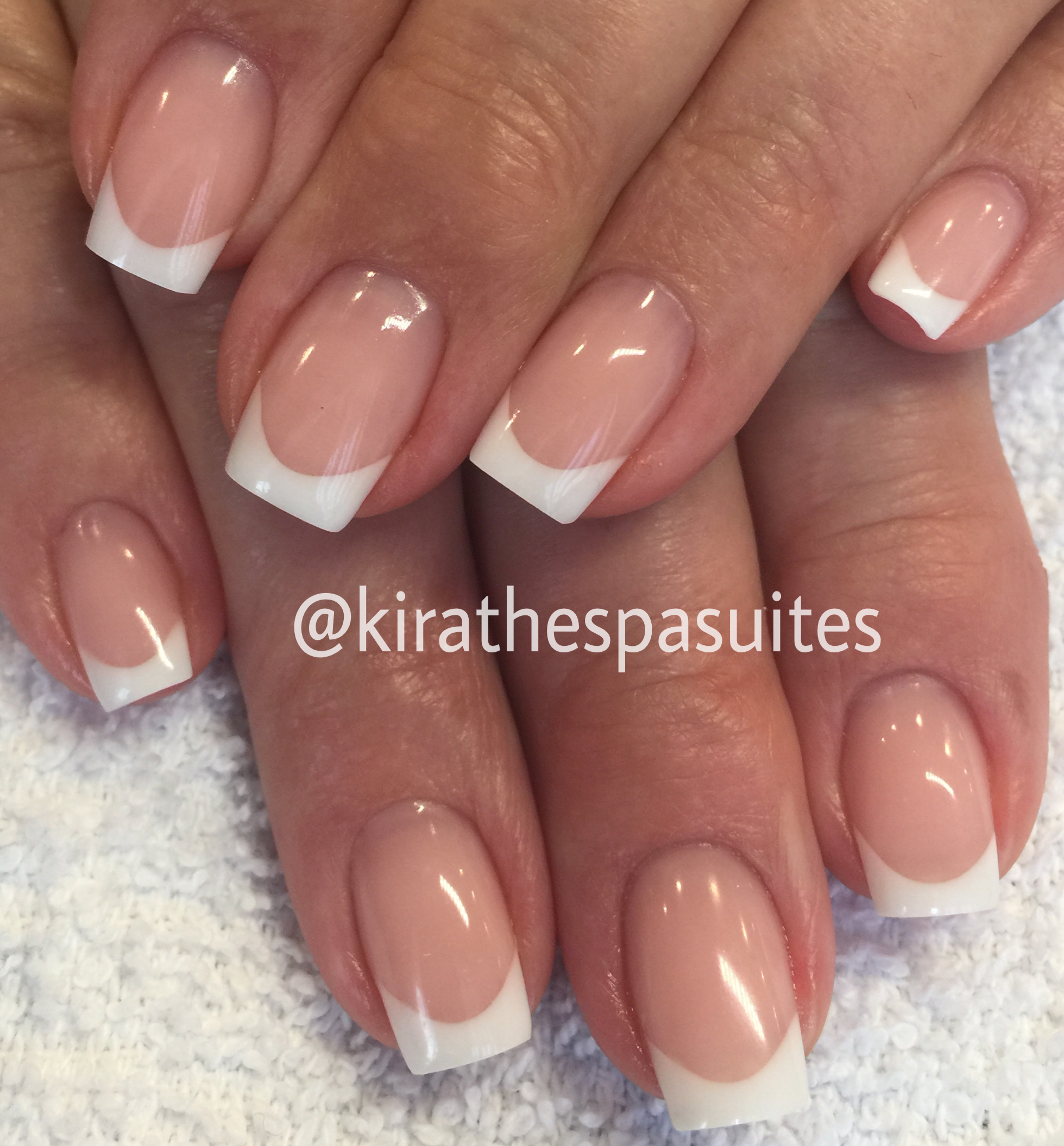 Pink and white gel nails using Masterworks by Amy Becker MasterGel ...