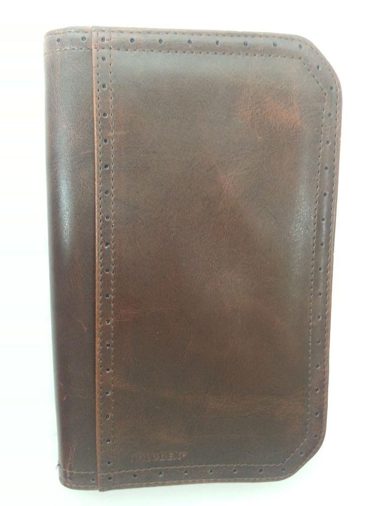 Rolodex Brown Zipper Business Card File Holder Notes Organizer 5 1 ...
