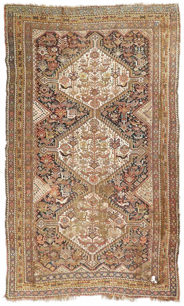 Distressed Antique Persian Qashqai Rug 5 X 8