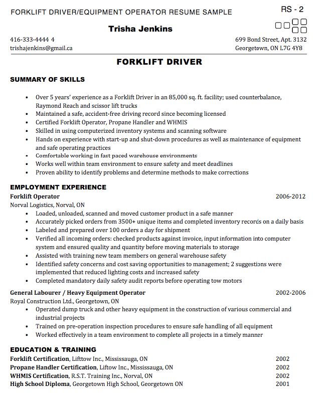 Exceptional Forklift Operator Resume Samples Inside Forklift Operator Resume Sample