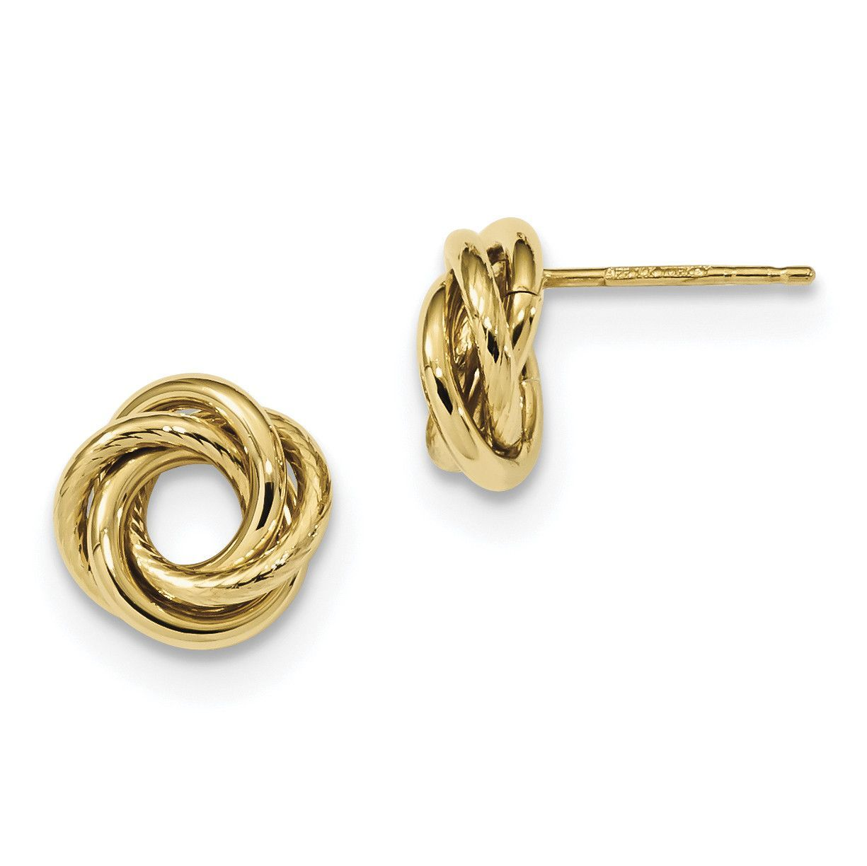 14k Gold Polished Love Knot Post Earrings TL1083
