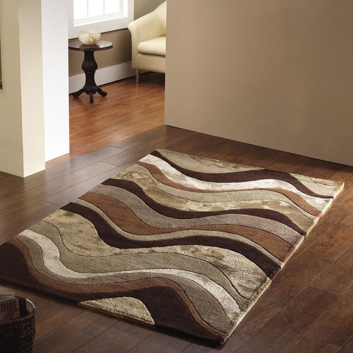 Modern Rug In Beige And Brow Quality Handtufted Wool Blend On This Funky Brown Rugstaupe Rugliving Room
