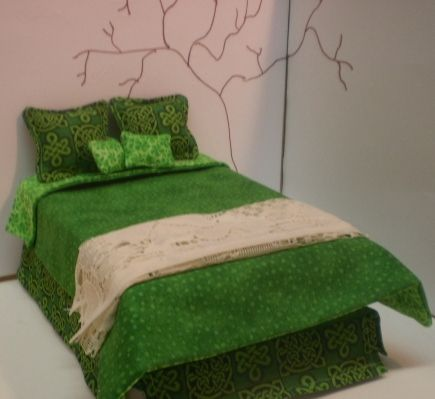 Miniature dollhouse Celtic bedding, 1/12th scale from Avalon Miniatures by Ronda Vallejo