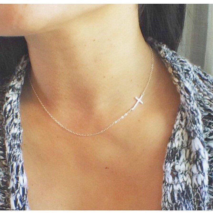 Sideways Sterling Silver Cross Necklace Layering Necklace Faith Believe Gifts Cross Gift For Her Bridesmaid Necklace Bridal