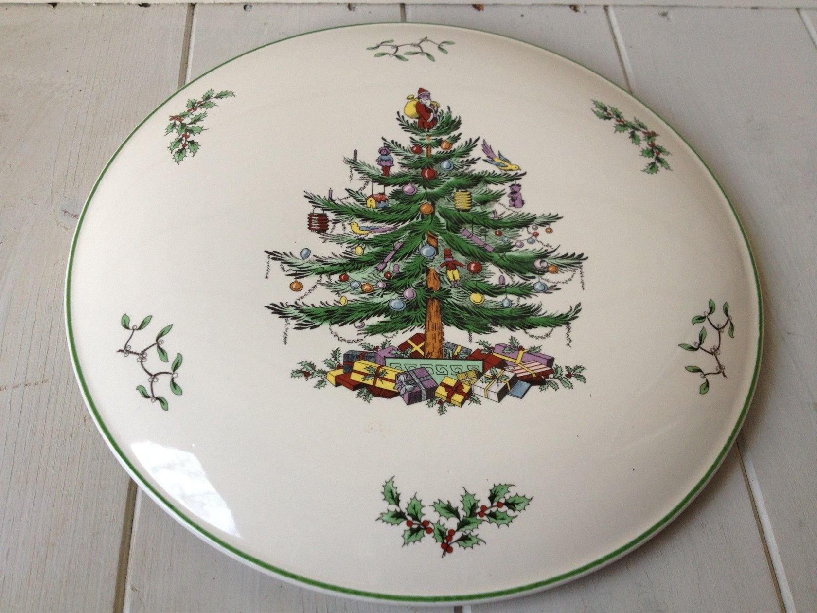 IMMACULATE SPODE CHRSTMAS TREE CAKE STAND - PERFECT FOR THE CHRISTMAS CAKE!