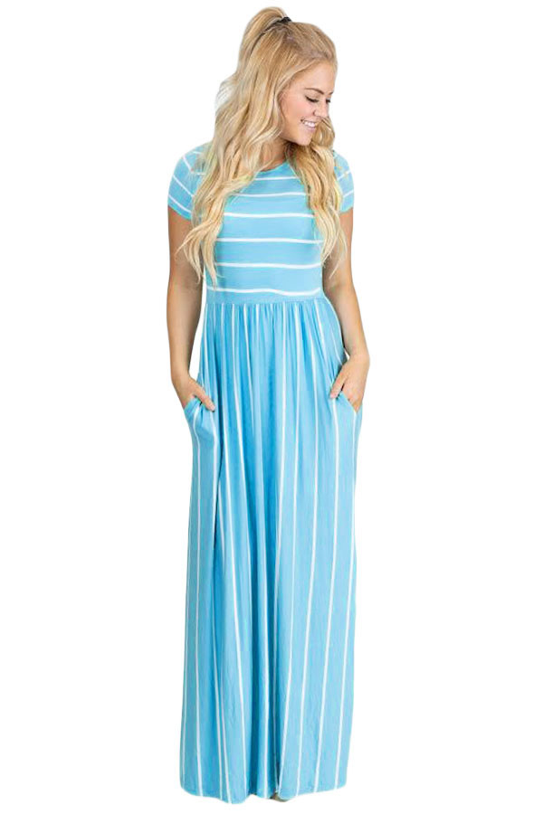 Light Blue White Striped Short Sleeve Maxi Dress #lightblueshorts