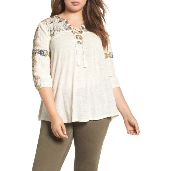 a5ba7a2fcfa4a Plus Size Women s Lucky Brand Embroidered Lace-Up Top (385445 PYG) ❤ liked