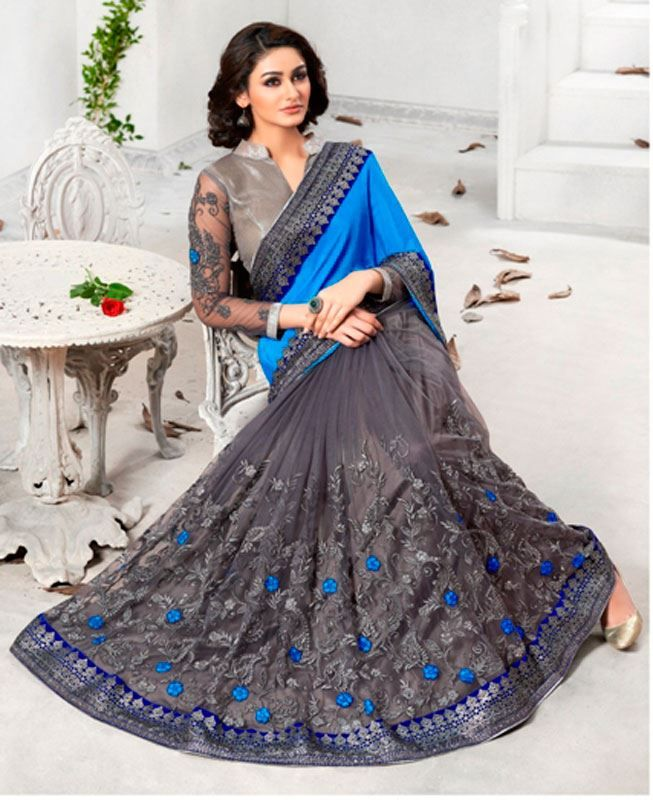 Buy Bewitching Gray Chiffon Sarees online at https://www.a1designerwear.com/bewitching-gray-chiffon-sarees Price: $69.50 USD