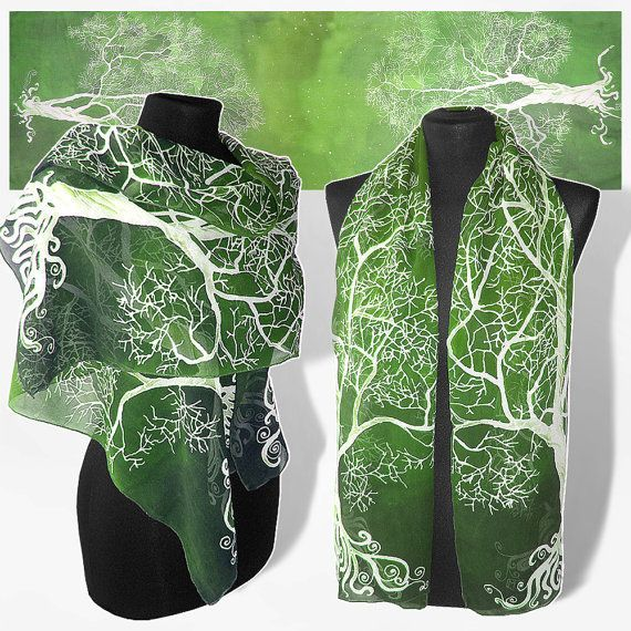 Long silk scarves White Tree in Green scarf hand painted hand made scarf fantasy - green whit... Long silk scarves White Tree in Green scarf hand painted hand made scarf fantasy - green white - tree scarf - silk scarves,