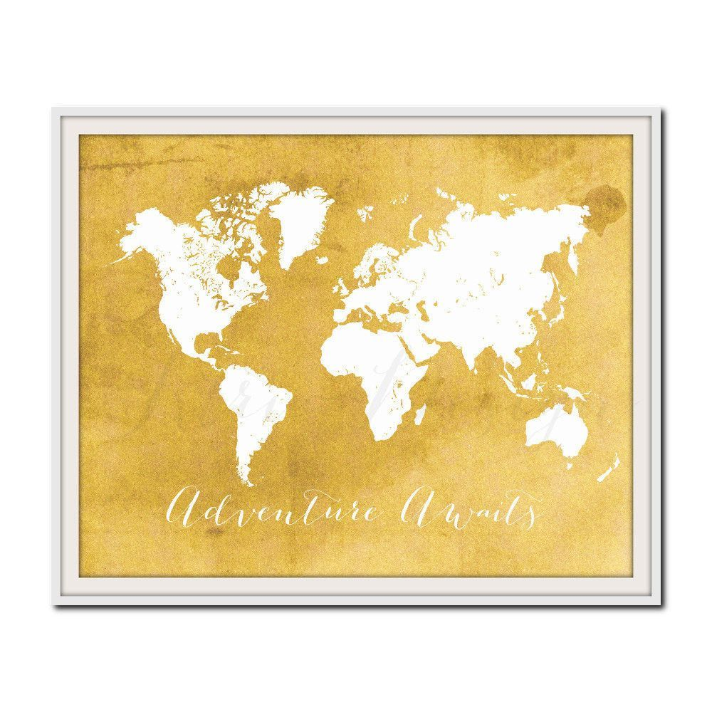 Summer Travel Print, Yellow World Map Print, Nursery Decor ...