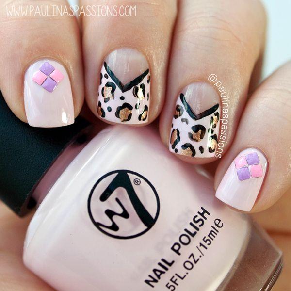Chevron Leopard Print Nails & Pastel Studs