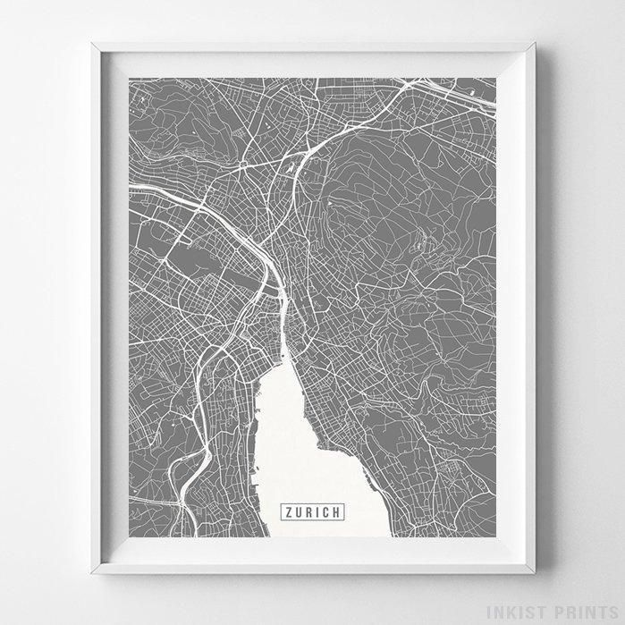 Zurich, Switzerland Street Map Vertical Print in 2019 | Europe ... on switzerland on europe map, zurich germany on map, zurich city map,