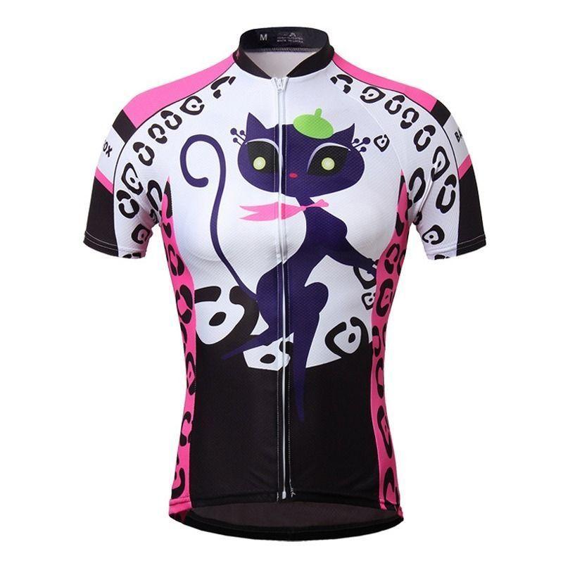 Cat Girl Women s Cycling Jerseys Tops Short Sleeve Road Mtb Bike Bicycle  Jerseys 0ba8b3f5b