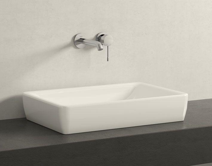 Badezimmer Reuter ~ Grohe essence 2 loch waschtischbatterie für wandmontage ausladung