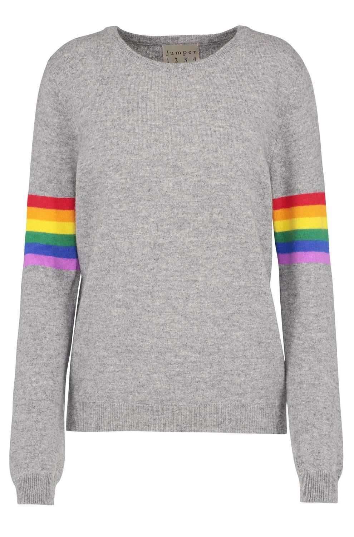 5296cd225fab Jumper1234 Rainbow Stripe Sleeve Jumper in Medium Grey -