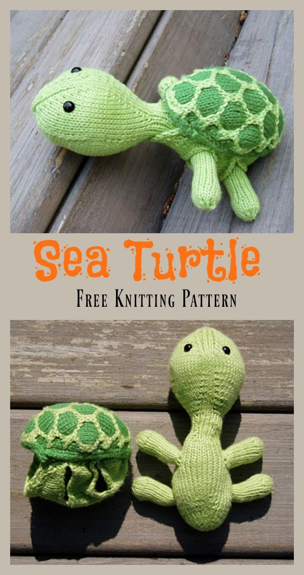 Sea Turtle Free Knitting Pattern | Knitting patterns, Turtle and Toy