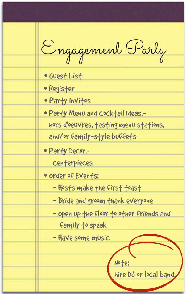 Kassandras to-do-list for Laura's engagement party ...