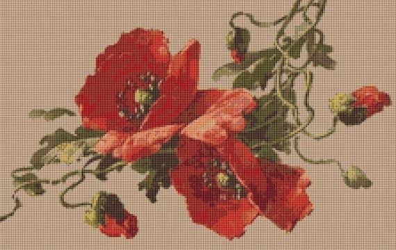 Red Poppies Cross Stitch Pattern, Catherine Klein, Instant PDF ...