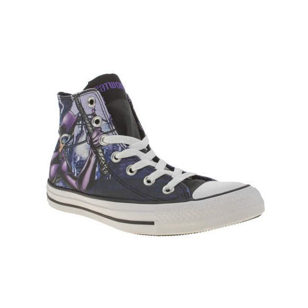 Converse Black & Purple All Star Catwoman Hi Trainers (610 SEK) ❤ liked on Polyvore featuring shoes, sneakers, black high tops, black hi top sneakers, purple high top sneakers, black shoes and high top sneakers
