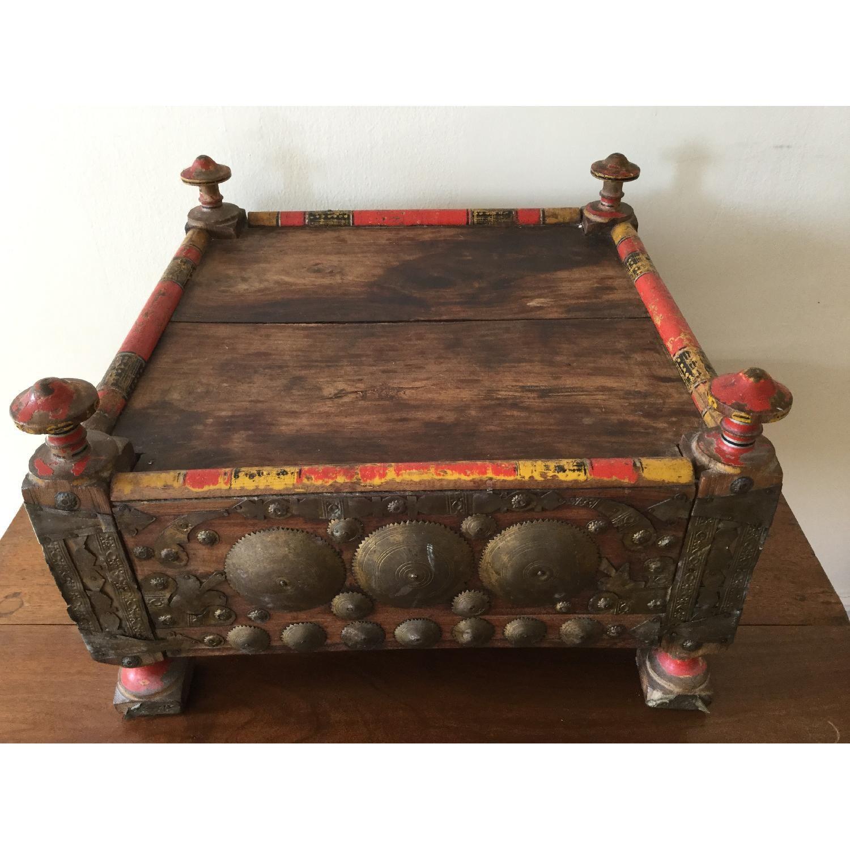 19thCentury Antique Indian Teak Bajot Coffee Table/Hand