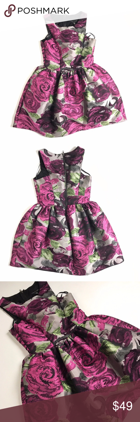 City triangles floral a line dress fit flare triangle