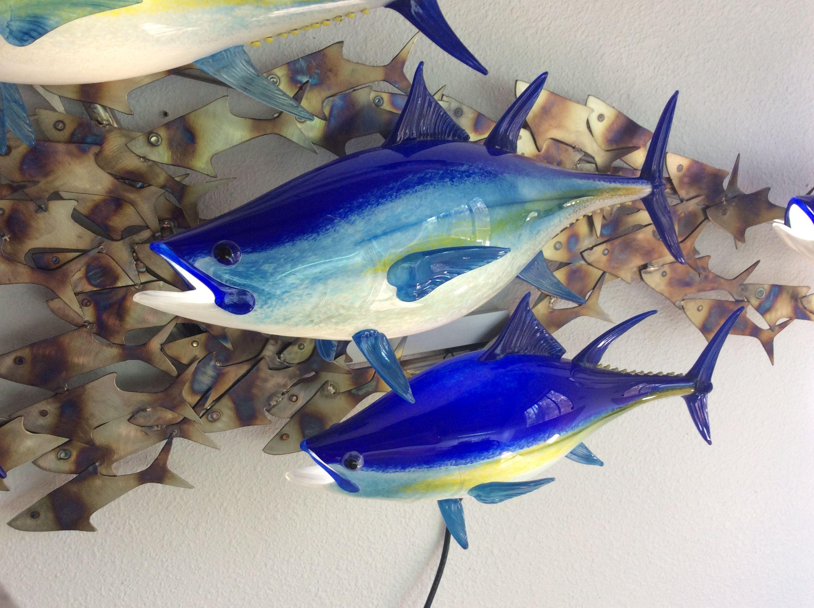 Bluefin Tuna closeup wall-mount by Michael Hopko #stunning #hopkoartglass #hopko #wallmounts #interiordesign #homedecor