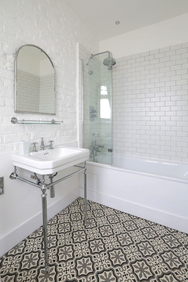Bathroom Flooring Mediterranean With Metro Tile White Painted Brick Wall