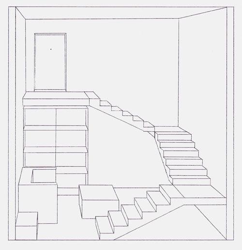 Voici donc le premier dessin en perspective une chambre ...