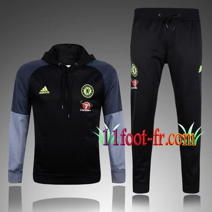 Survetement Foot de Sweat a Capuche FC Chelsea Noir 2017 2018