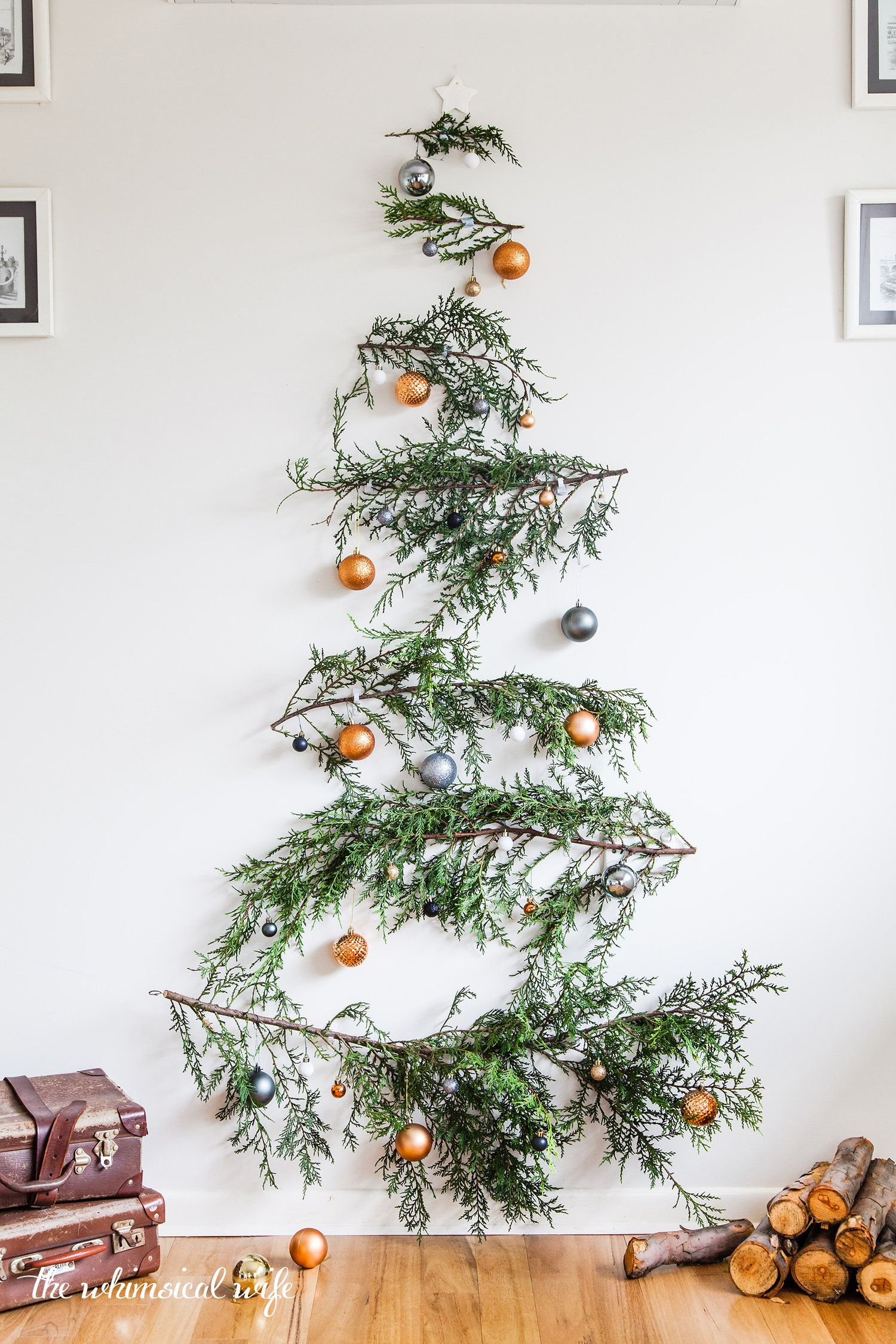 Quick Easy Diy Pine Branch Christmas Tree The Whimsical Wife Cook Create Decorate Diy Christmas Tree Wall Christmas Tree Christmas Wall Decor