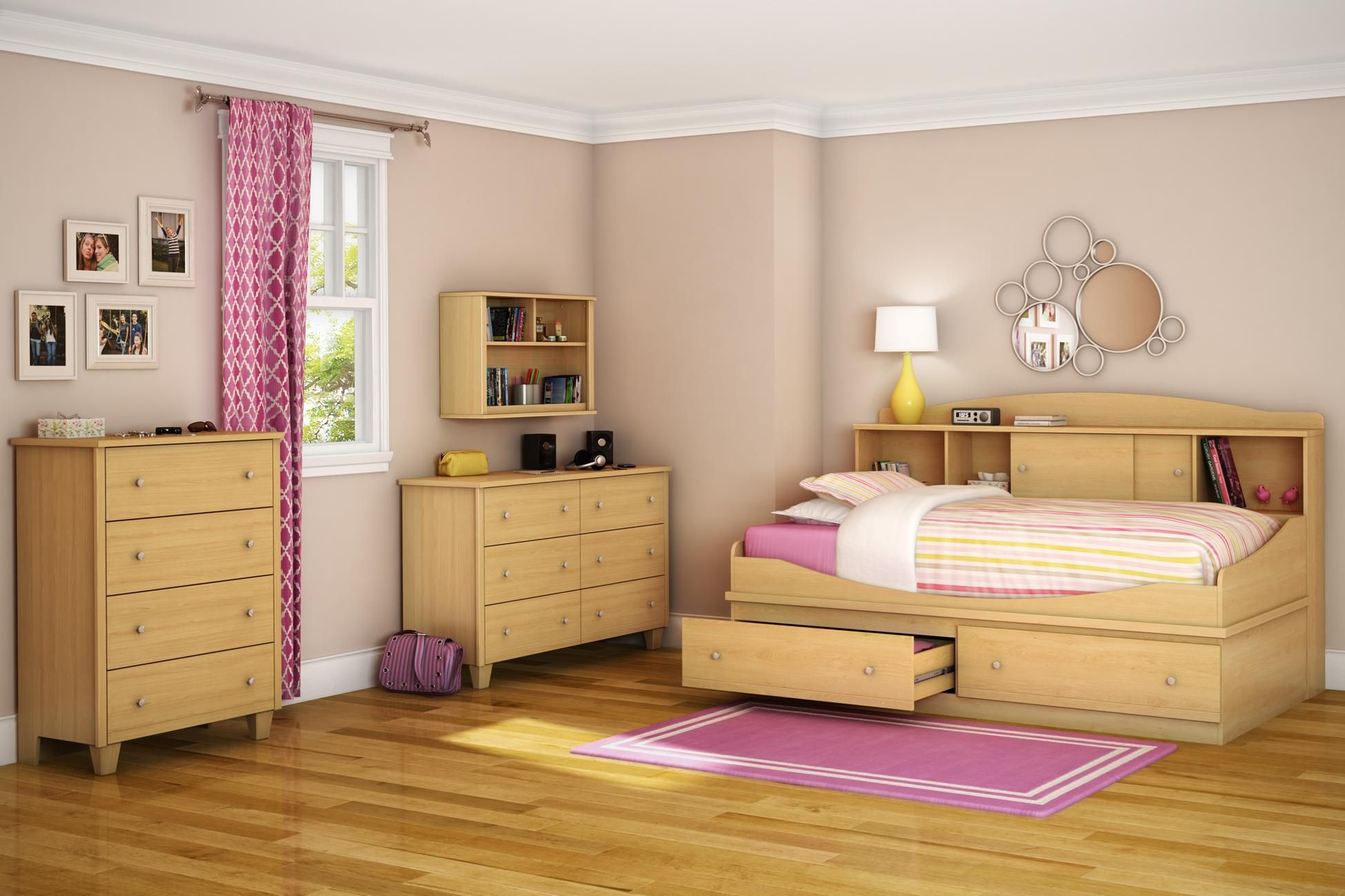 Light brown bedroom furniture - Awesome Twin Bedroom Set With Wooden Bookcase Daybed And Drawers Also Wooden Dresser And Wall Shelf