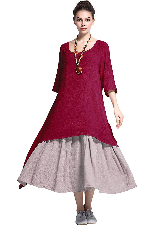 2d47e67103ef Anysize Fake Two Piece Linen Cotton Dress Spring Summer Plus Size Dress  Y111 | Plus Size Dress | Summer dresses for women, Summer dresses, Plus  size summer