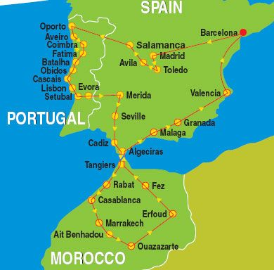Map Of Spain Morocco.Portugal Spain Morocco Itinerary Just A Lot Slower Take Me