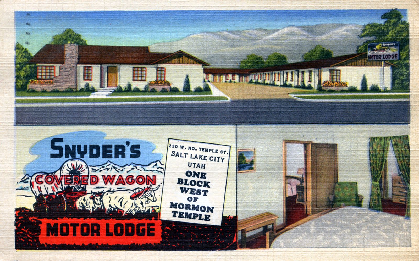 Snydor S Covered Wagon Motor Lodge Salt Lake City Ut Salt Lake City Ut Utah Lakes Lake
