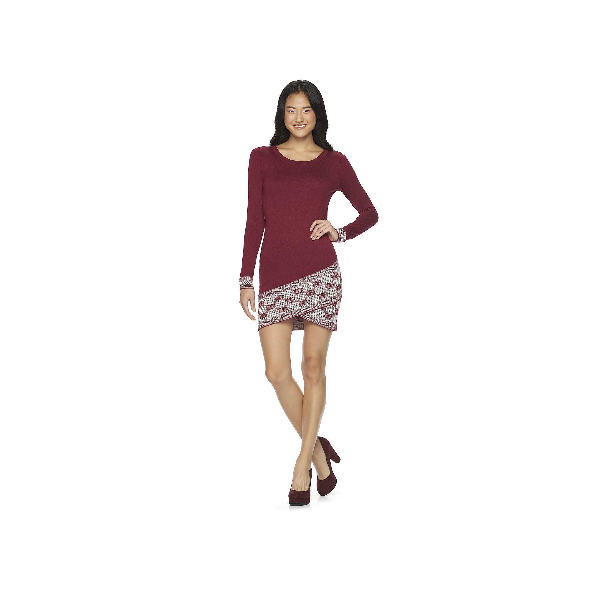 Juniorsu Freshman Asymmetrical Geometric Print Dress Teens Size