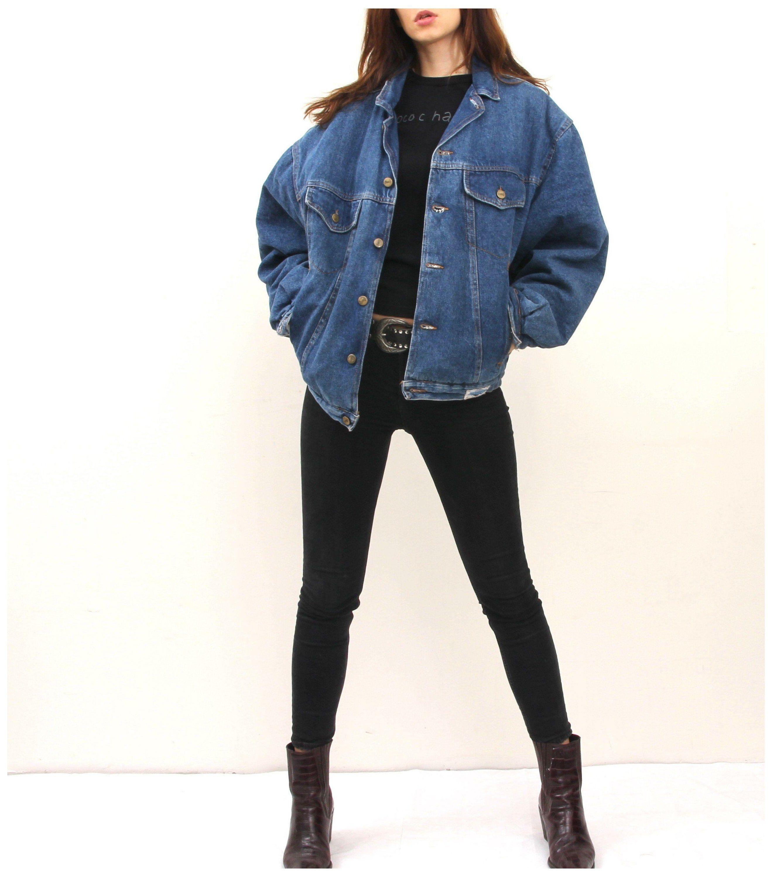 Warmed Denim Jacket Plaid Lined Jean Jacket Large Oversized Jeans Jacket L Vintage Denim Ja Oversized Denim Jacket Outfit Jacket Outfit Women Jacket Outfits [ 2998 x 2637 Pixel ]